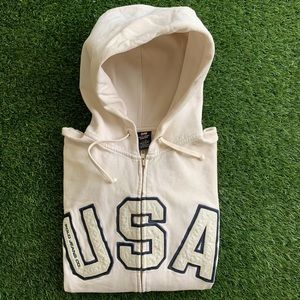🇺🇸VTG Polo Jeans Co. White USA Zip Hoodie